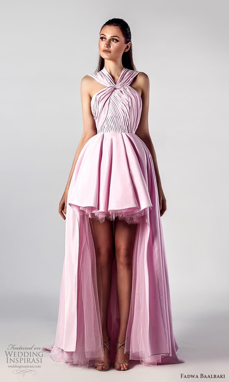 fadwa baalbaki spring 2021 bridal strapless sweetheart neckline pleated bodice a line ball gown high low wedding dress chapel train pink (9) mv
