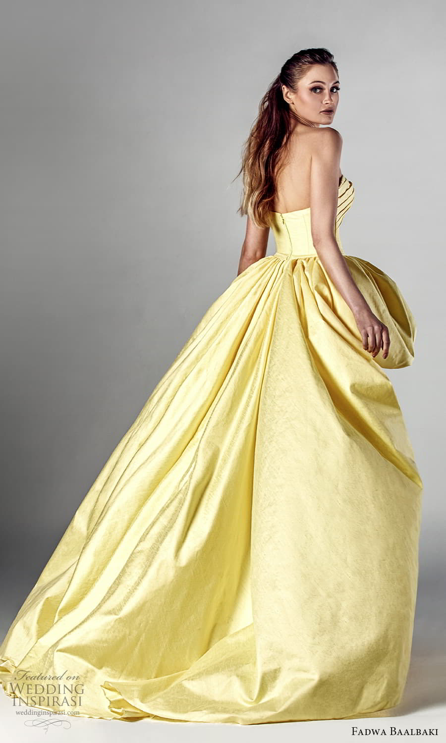 fadwa baalbaki spring 2021 bridal strapless sweetheart neckline pleated bodice a line ball gown high low wedding dress chapel train yellow (8) bv