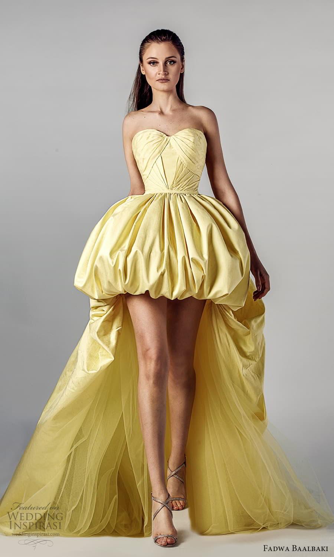 fadwa baalbaki spring 2021 bridal strapless sweetheart neckline pleated bodice a line ball gown high low wedding dress chapel train yellow (8) mv