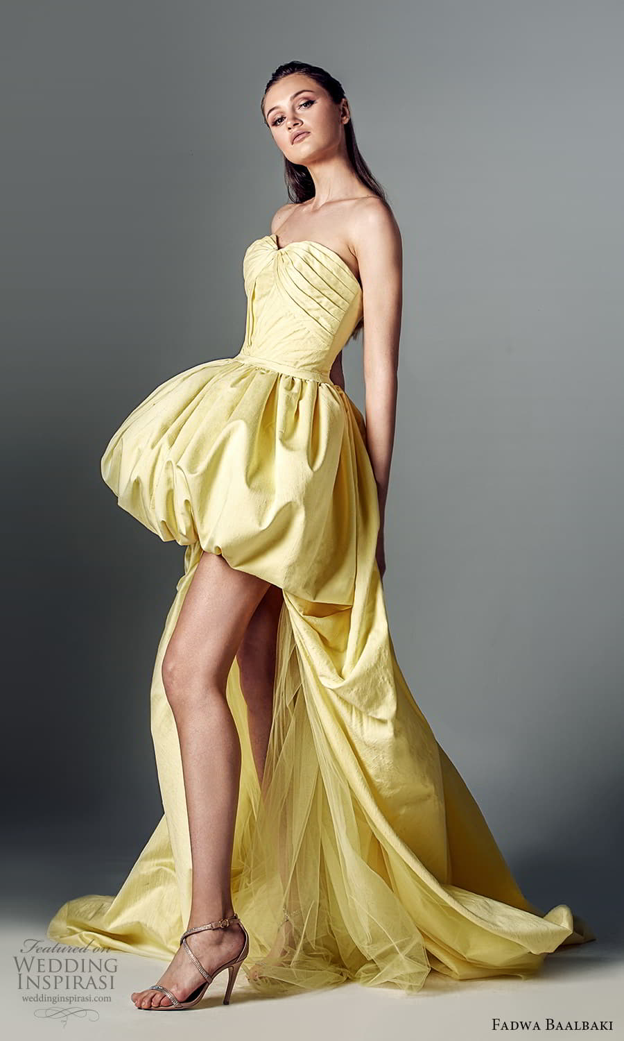 fadwa baalbaki spring 2021 bridal strapless sweetheart neckline pleated bodice a line ball gown high low wedding dress chapel train yellow (8) sv