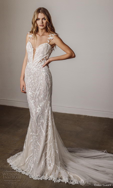galia lahav spring 2022 bridal cap sleeves sweetheart neckline fully embellished sheath wedding dress chapel train (6) mv