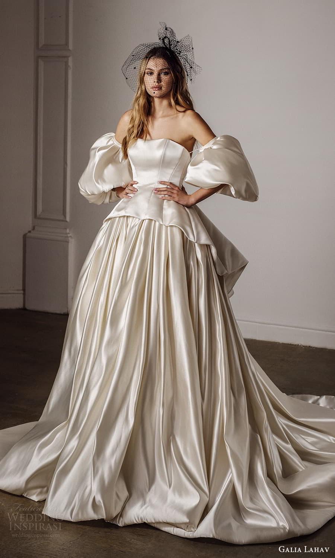 galia lahav spring 2022 bridal detached puff sleeves strapless semi sweetheart neckline peplum a line ball gown wedding dress chapel train (3) mv