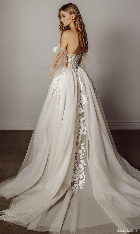 galia lahav spring 2022 bridal detached puff sleeves strapless sweetheart neckline fully embellished a line ball gown wedding dress chapel train (5) bv