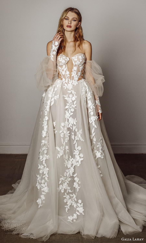 galia lahav spring 2022 bridal detached puff sleeves strapless sweetheart neckline fully embellished a line ball gown wedding dress chapel train (5) mv