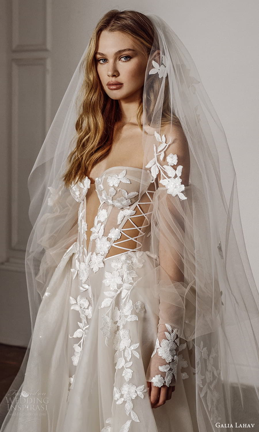 galia lahav spring 2022 bridal detached puff sleeves strapless sweetheart neckline fully embellished a line ball gown wedding dress chapel train (5) zv