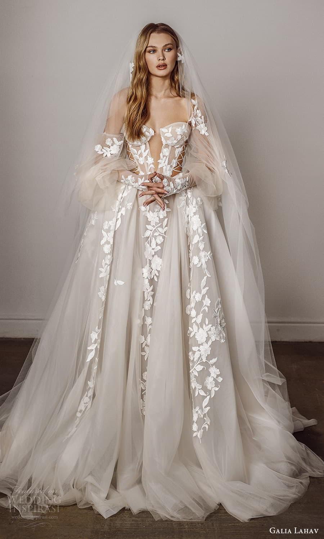 galia lahav spring 2022 bridal detached puff sleeves strapless sweetheart neckline fully embellished a line ball gown wedding dress chapel train veil (5) mv