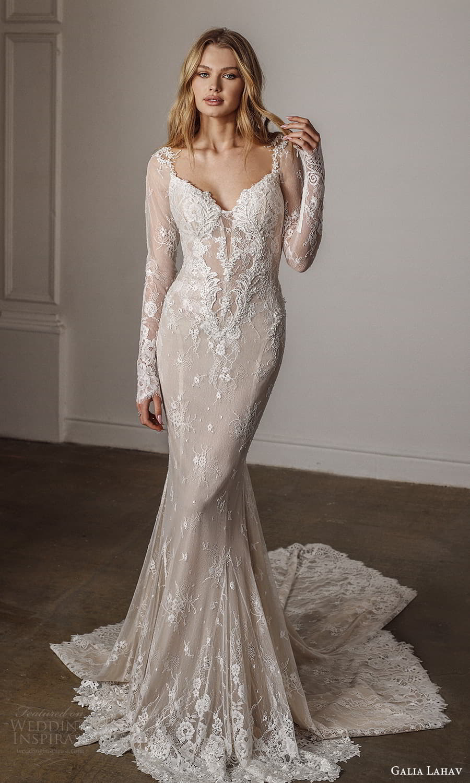 galia lahav spring 2022 bridal long sleeves sweetheart neckline fully embellished sheath wedding dress chapel train (4) mv