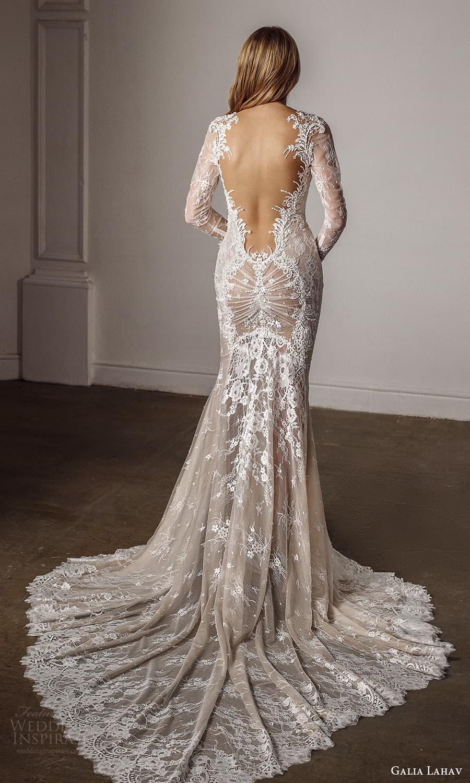 galia lahav spring 2022 bridal long sleeves sweetheart neckline fully embellished sheath wedding dress chapel train low back (4) bv