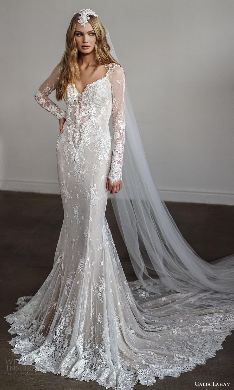 galia lahav spring 2022 bridal long sleeves sweetheart neckline fully embellished sheath wedding dress chapel train low back veil (4) mv