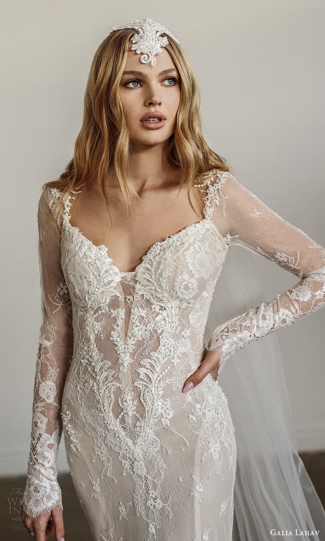 galia lahav spring 2022 bridal long sleeves sweetheart neckline fully embellished sheath wedding dress chapel train low back veil (4) zv