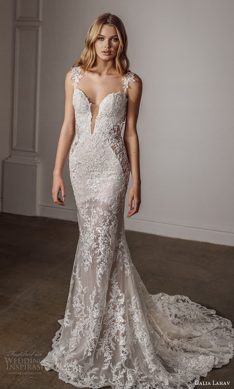 galia lahav spring 2022 bridal mini cap sleeves plunging v neckline fully embellished lace sheath wedding dress chapel train (11) mv