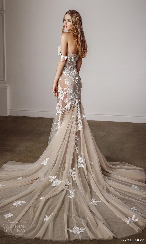 galia lahav spring 2022 bridal off shoulder straps semi sweetheart neckline embellished bodice fit flare mermaid wedding dress cathedral train blush (14) bv