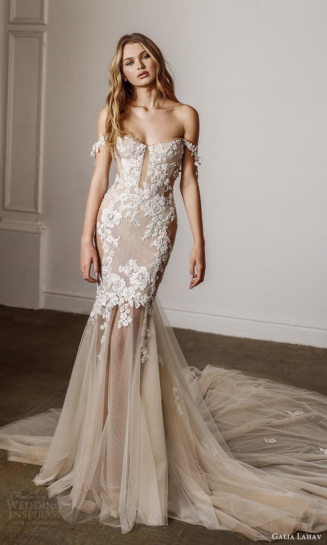 galia lahav spring 2022 bridal off shoulder straps semi sweetheart neckline embellished bodice fit flare mermaid wedding dress cathedral train blush (14) mv
