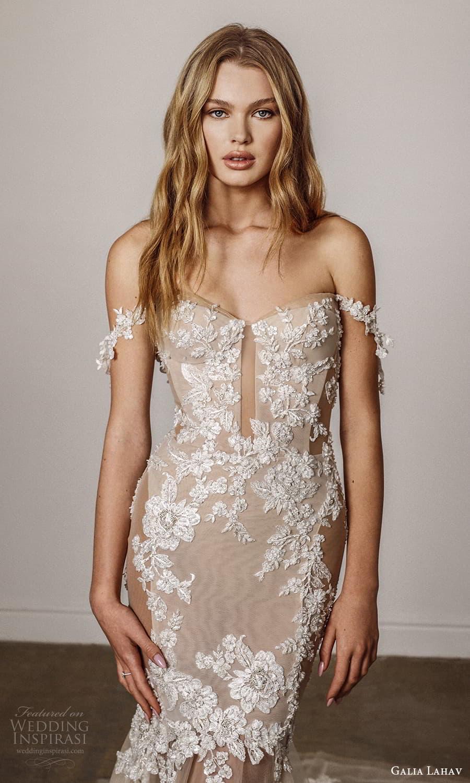 galia lahav spring 2022 bridal off shoulder straps semi sweetheart neckline embellished bodice fit flare mermaid wedding dress cathedral train blush (14) zv