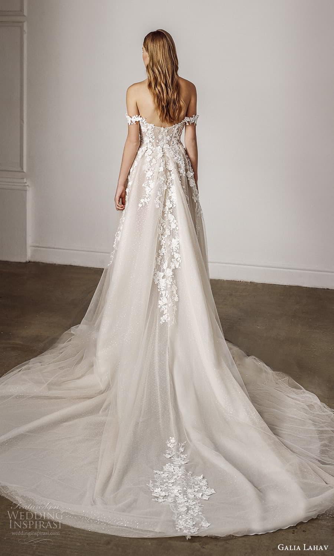 galia lahav spring 2022 bridal off shoulder straps sweetheart neckline embellished bodice a line ball gown wedding dress chapel train (12) bv