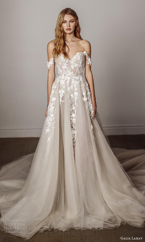galia lahav spring 2022 bridal off shoulder straps sweetheart neckline embellished bodice a line ball gown wedding dress chapel train (12) mv