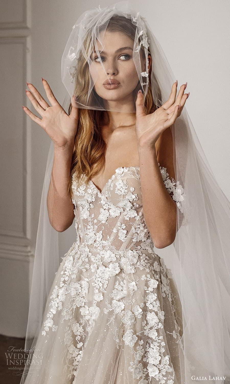 galia lahav spring 2022 bridal off shoulder straps sweetheart neckline embellished bodice a line ball gown wedding dress chapel train (12) zv