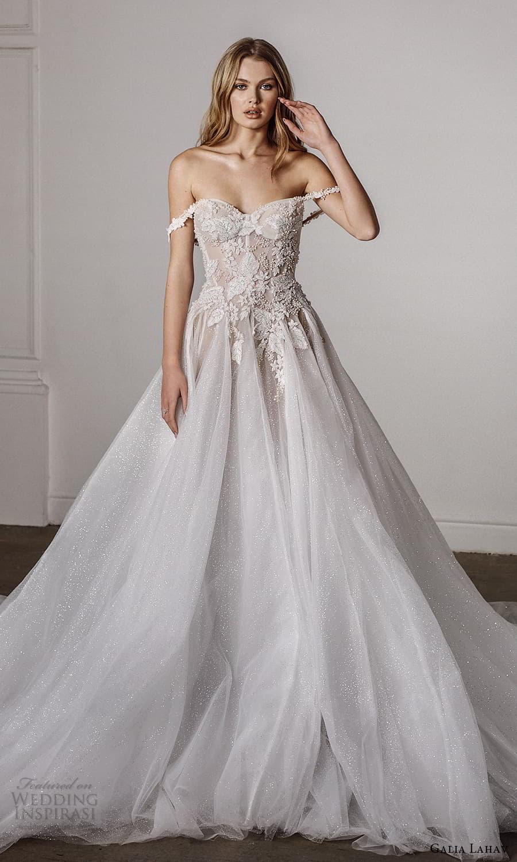 galia lahav spring 2022 bridal off shoulder swag straps sweetheart neckline embellished bodice a line ball gown wedding dress chapel train (10) mv