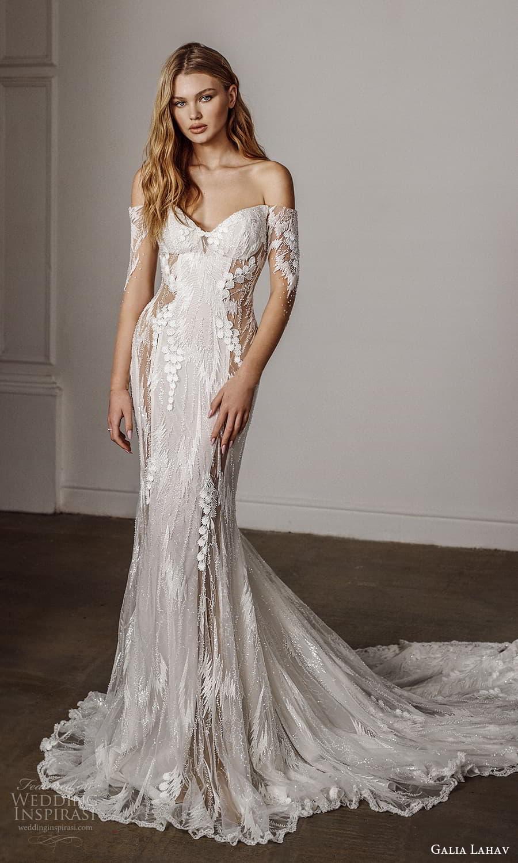 galia lahav spring 2022 bridal sheer 3 quarter sleeves off shoulder sweetheart necklnie fully embellished sheath wedding dress chapel train (13) mv