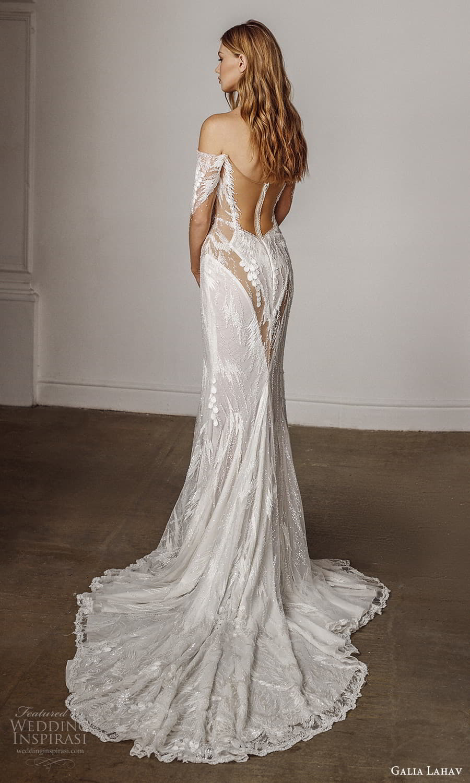 galia lahav spring 2022 bridal sheer 3 quarter sleeves off shoulder sweetheart necklnie fully embellished sheath wedding dress chapel train sheer back (13) mv