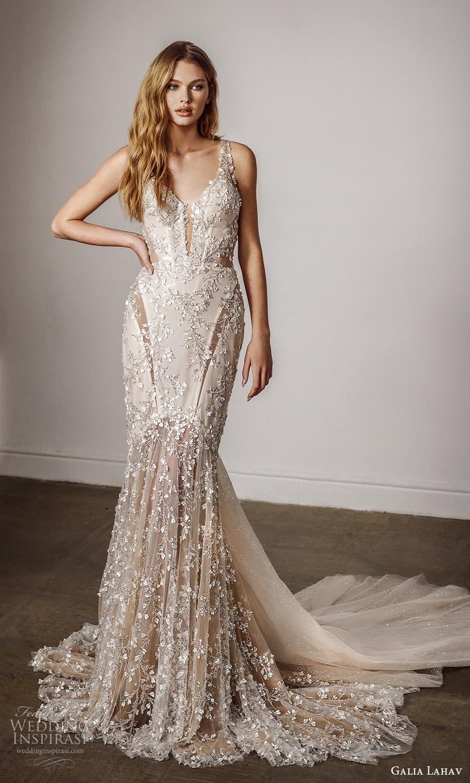 galia lahav spring 2022 bridal sleeveless straps plunging v necklne fully embellished sheath wedding dress chapel train (8) mv