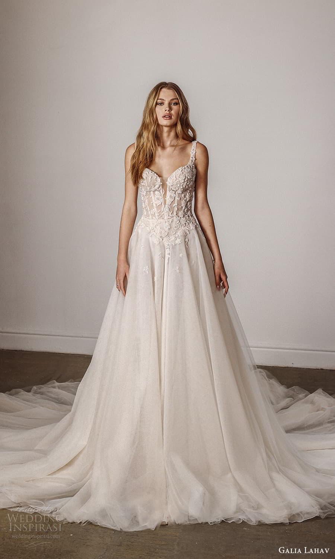 galia lahav spring 2022 bridal sleevelesss straps square neckline embellished bodice a line ball gown wedding dress chapel train (9) mv