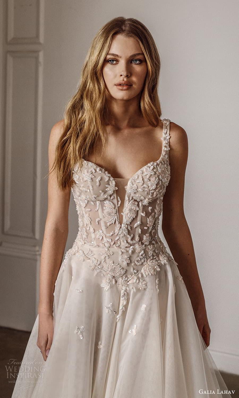 galia lahav spring 2022 bridal sleevelesss straps square neckline embellished bodice a line ball gown wedding dress chapel train (9) zv