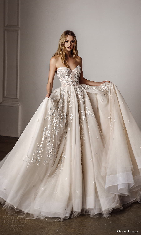 galia lahav spring 2022 bridal strapless sweetheart neckline embellished bodice a line ball gown wedding dress chapel train (2) mv