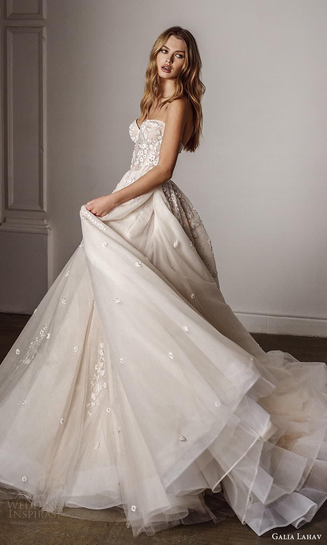 galia lahav spring 2022 bridal strapless sweetheart neckline embellished bodice a line ball gown wedding dress chapel train (2) sv