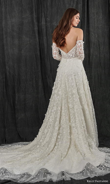 kelly faetanini spring 2022 bridal detached long sleeves semi scoop curve straplss neckline fully embellished a line wedding dress chapel train (6) bv