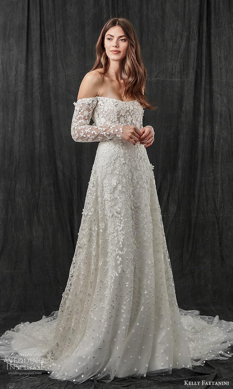 kelly faetanini spring 2022 bridal detached long sleeves semi scoop curve straplss neckline fully embellished a line wedding dress chapel train (6) mv