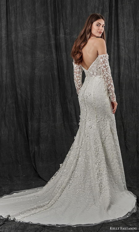 kelly faetanini spring 2022 bridal detached long sleeves semi scoop curve straplss neckline fully embellished sheath wedding dress chapel train (1) bv