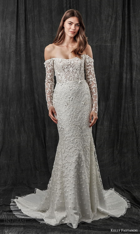 kelly faetanini spring 2022 bridal detached long sleeves semi scoop curve straplss neckline fully embellished sheath wedding dress chapel train (1) mv