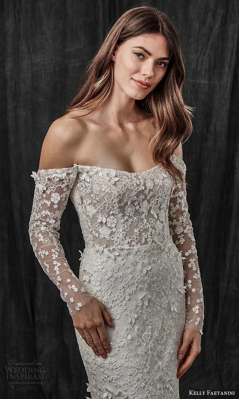 kelly faetanini spring 2022 bridal detached long sleeves semi scoop curve straplss neckline fully embellished sheath wedding dress chapel train (1) zv