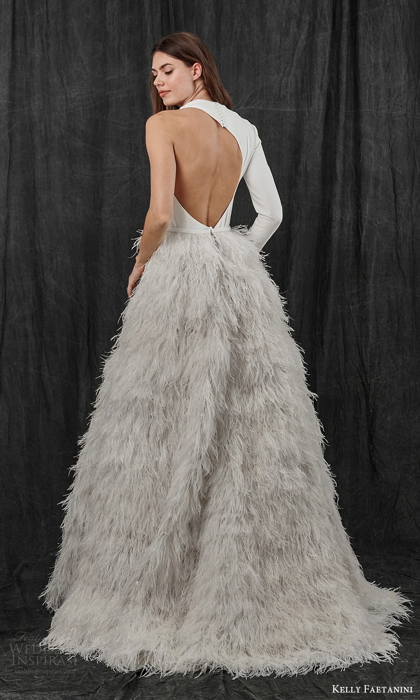 kelly faetanini spring 2022 bridal one shoulder long sleeve asymmetric neckline clean bodice feather skirt a line ball gown wedding dress sweep train cutout back (7) bv