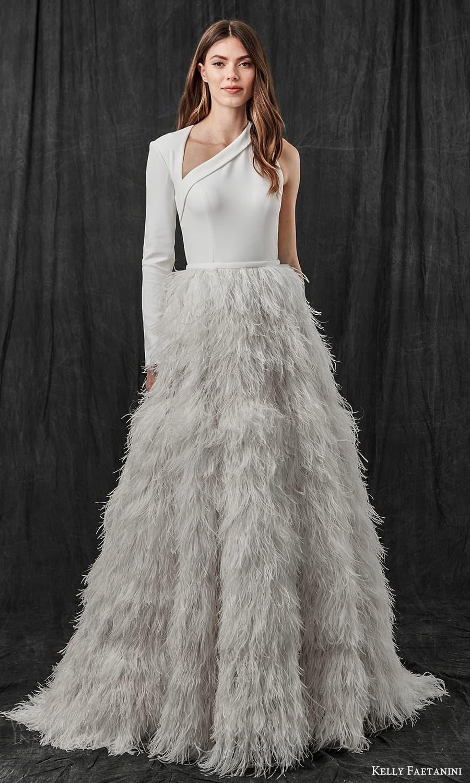 kelly faetanini spring 2022 bridal one shoulder long sleeve asymmetric neckline clean bodice feather skirt a line ball gown wedding dress sweep train cutout back (7) mv