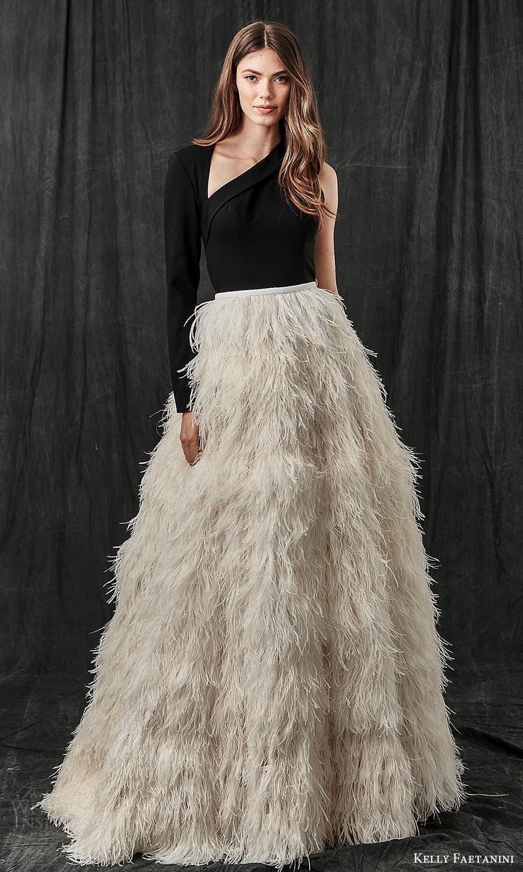 kelly faetanini spring 2022 bridal one shoulder long sleeve asymmetric neckline clean bodice feather skirt a line ball gown wedding dress sweep train cutout back black top (7) mv