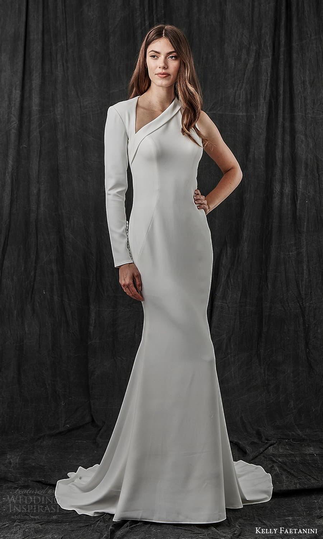 kelly faetanini spring 2022 bridal one shoulder long sleeve asymmetric neckline clean minimalist sheath wedding dress sweep train (2) mv