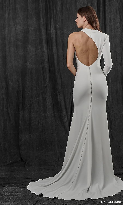 kelly faetanini spring 2022 bridal one shoulder long sleeve asymmetric neckline clean minimalist sheath wedding dress sweep train cutout back (2) bv