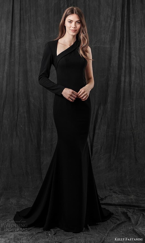 kelly faetanini spring 2022 bridal one shoulder long sleeve asymmetric neckline clean minimalist sheath wedding dress sweep train cutout back black color (2) mv