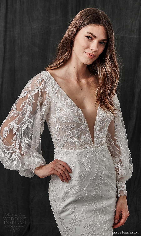 kelly faetanini spring 2022 bridal sheer bishop sleeves v neckline fully embellished fit flare sheath mermaid wedding dress chapel train (5) zv