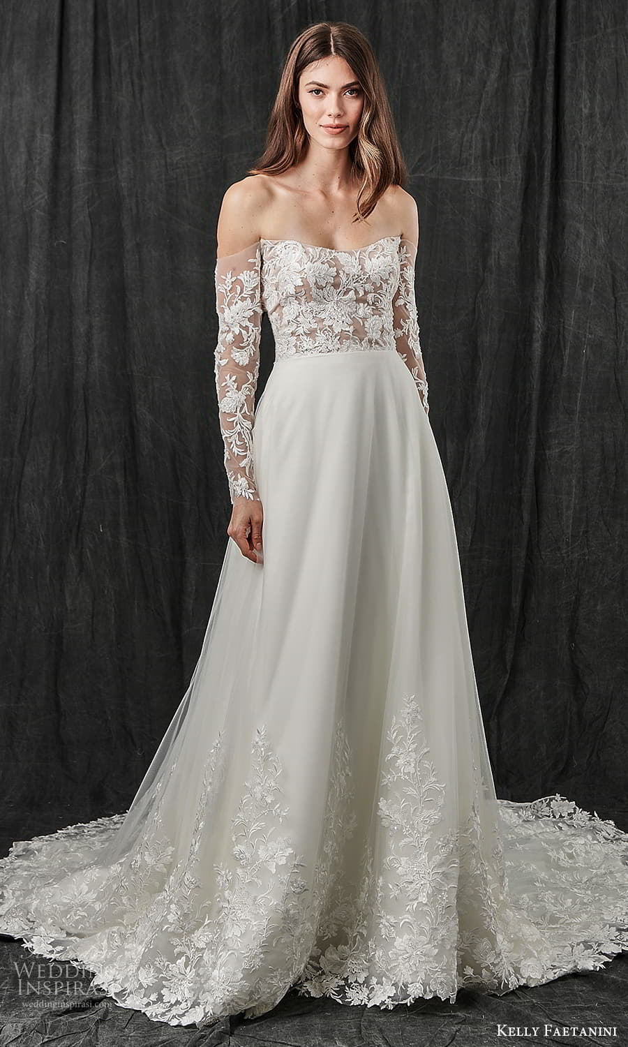 kelly faetanini spring 2022 bridal sheer detached long sleeves curved neckling embellished lace bodice clean skirt a line weding dress chapel train (16) mv