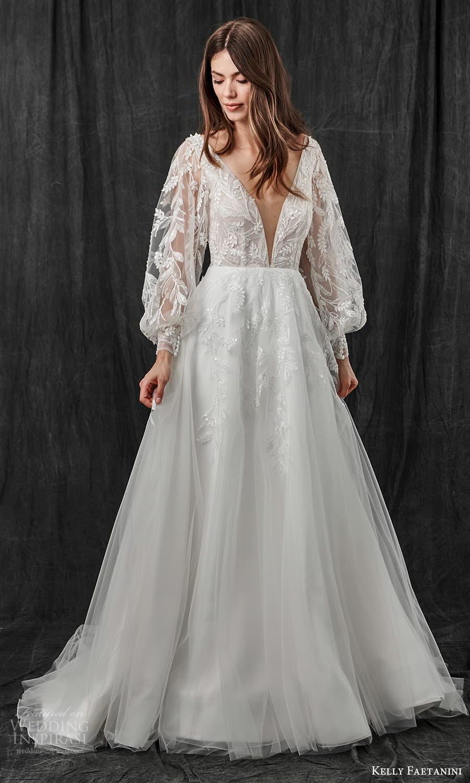 kelly faetanini spring 2022 bridal sheer long bishop sleeves plunging v neckline embellished a line ball gown wedding dress chapel train (15) mv