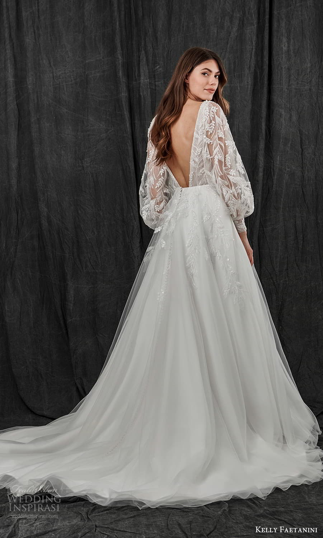 kelly faetanini spring 2022 bridal sheer long bishop sleeves plunging v neckline embellished a line ball gown wedding dress chapel train v back (15) bv