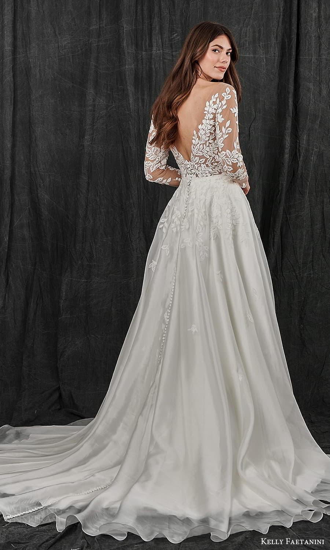 kelly faetanini spring 2022 bridal sheer long sleeve plunging v neckline embellished lace bodice a line ball gown wedding dress chapel train (8) bv