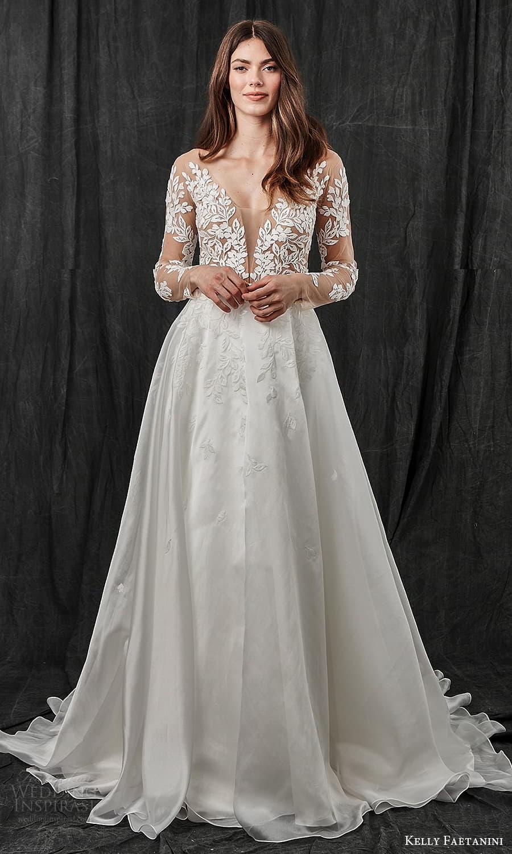 kelly faetanini spring 2022 bridal sheer long sleeve plunging v neckline embellished lace bodice a line ball gown wedding dress chapel train (8) mv