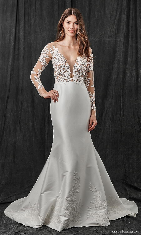 kelly faetanini spring 2022 bridal sheer long sleeve plunging v neckline embellished lace bodice trumpet modified a line wedding dress chapel train v back (9) mv