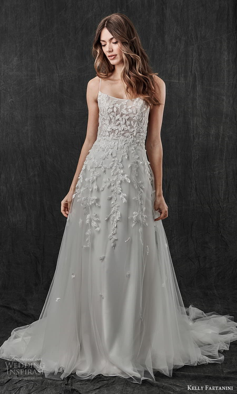 kelly faetanini spring 2022 bridal sleeveless straps scoop neckline embellished a line wedding dress chapel train (13) mv