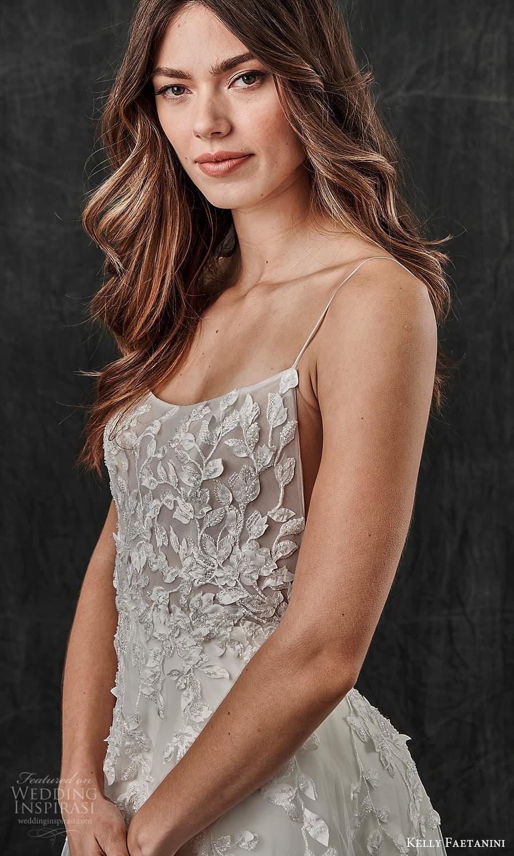 kelly faetanini spring 2022 bridal sleeveless straps scoop neckline embellished a line wedding dress chapel train (13) zv