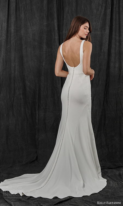 kelly faetanini spring 2022 bridal sleeveless straps square neckline clean minimalist sheath wedding dress chapel train (17) bv